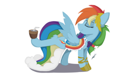 Size: 1448x904 | Tagged: safe, artist:groomlake, rainbow dash, pegasus, pony, season 1, the best night ever, clothes, colored, cute, dress, female, gala dress, grand galloping gala, mare, mug, simple, simple background, smiling, solo, white background, wings