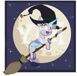 Size: 600x588 | Tagged: safe, artist:happy-go-creative, pony, broom, commission, halloween, holiday, nightmare night, solo, witch, ych sketch, your character here