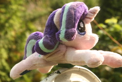 Size: 2804x1884 | Tagged: safe, artist:bastler, starlight glimmer, alicorn, pony, alicornified, blurry background, female, folded wings, horn, irl, mare, photo, plushie, race swap, solo, starlicorn, wings, xk-class end-of-the-world scenario
