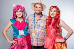 Size: 960x640 | Tagged: safe, artist:lochlan o'neil, artist:sarahndipity cosplay, pinkie pie, sunset shimmer, human, bronycon, bronycon 2014, equestria girls, rainbow rocks, clothes, cosplay, costume, hand on hip, irl, irl human, peter new, photo, voice actor