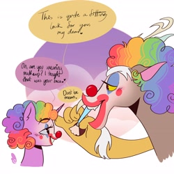 Size: 4096x4096 | Tagged: safe, artist:yesterdaysbites, discord, twilight sparkle, alicorn, draconequus, antlers, brush, cloud, clown, clown makeup, clown nose, discolight, duo, duo focus, fangs, female, looking at each other, makeup, male, multicolored hair, music in description, rainbow hair, raised eyebrow, shipping, speech bubble, straight, talking, text, upper body
