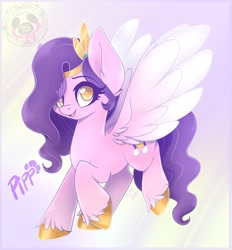 Size: 1895x2040   Tagged: safe, artist:bloodypink1, pipp petals, pegasus, pony, g5, ear fluff, female, looking at you, mare, open mouth, signature, smiling, solo, unshorn fetlocks, wings, wrong eye color