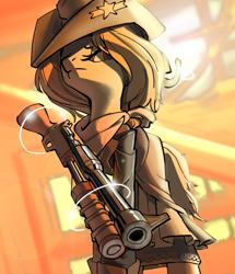 Size: 2544x2953 | Tagged: safe, artist:castle bravo, oc, deer, bounty hunter, female cowboy, gun, shotgun, wasteland, weapon
