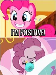 Size: 1500x1999 | Tagged: safe, edit, edited screencap, screencap, pinkie pie, coronavirus, mask, positive, positive ponies, pun
