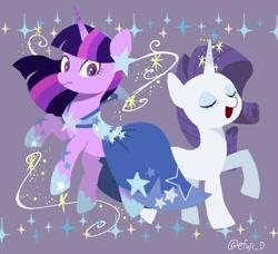 Size: 2048x1870   Tagged: safe, artist:efuji_d, rarity, twilight sparkle, pony, unicorn, clothes, dress, duo, eyes closed, female, gala dress, lineless, magic, mare, starry eyes, unicorn twilight, wingding eyes
