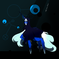 Size: 1800x1800   Tagged: safe, artist:artywitch, pony, unicorn, background, blue, blue background, blue diamond (steven universe), blue eyes, blue skin, crossover, female, gem, giant pony, hood, hoof shoes, horn, horn ring, macro, mare, ponified, ring, simple background, solo, solo female, steven universe, white hair, white mane