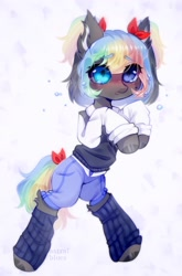 Size: 1088x1646   Tagged: safe, artist:starrcoma, oc, earth pony, pony, clothes, female, leg warmers, mare, pants, shirt, solo, sweater, vest