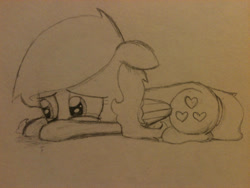 Size: 2048x1536   Tagged: safe, artist:zombietator, oc, oc only, oc:claire, pegasus, pony, crying, female, floppy ears, lineart, mare, pegasus oc, sad, solo, traditional art, wings