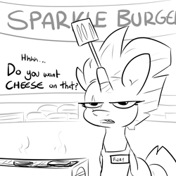 Size: 2500x2500 | Tagged: safe, artist:tjpones, fizzlepop berrytwist, tempest shadow, pony, unicorn, apron, black and white, burger, clothes, female, food, grayscale, horn, mare, monochrome, name tag, solo, spatula, talking to viewer, tempest gets her horn back, tempest shadow is not amused, unamused
