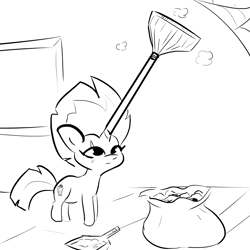 Size: 2500x2500 | Tagged: safe, artist:tjpones, fizzlepop berrytwist, tempest shadow, pony, unicorn, black and white, broom, cleaning, dust pan, female, grayscale, horn, mare, monochrome, solo, spider web, tempest gets her horn back