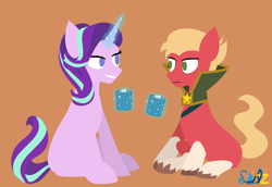 Size: 3652x2509 | Tagged: safe, artist:samsailz, sprout cloverleaf, starlight glimmer, earth pony, pony, unicorn, g5, my little pony: a new generation, spoiler:my little pony: a new generation, chocolate, drink, duo, empathy cocoa, emperor sprout, female, food, hot chocolate, implied time travel, lineless, male, mare, marshmallow, missing cutie mark, mug, smiling, soviet, stalin glimmer, stallion