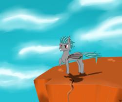 Size: 1500x1250 | Tagged: safe, artist:windy, oc, oc only, oc:malachite cluster, bat pony, pony, bat pony oc, bat wings, cliff, cloud, folded wings, frog (hoof), tail, two toned mane, two toned tail, underhoof, wings