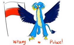 Size: 2600x1600   Tagged: safe, artist:horsesplease, gallus, crowing, czubatka staropolska, flag, gallus the rooster, gallusposting, meme, poland, polish, polish chicken, spread wings, wings