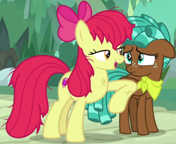 Size: 896x733   Tagged: safe, screencap, apple bloom, spur, earth pony, pegasus, growing up is hard to do, spoiler:s09, apple bloom's bow, bow, cropped, duo, female, filly, hair bow, mare, older, older apple bloom, teenager