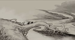 Size: 1850x1002 | Tagged: safe, artist:ipaidforthat1, pony, my little pony: the movie, concept art, duo, fallen tree, monochrome, outdoors, silhouette, traditional art, tree