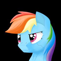 Size: 1280x1280 | Tagged: safe, artist:zocidem, rainbow dash, pegasus, pony, augmented, bust, cyberpunk, portrait, solo
