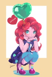 Size: 1401x2048   Tagged: safe, artist:ku_rimo, pinkie pie, equestria girls, friendship games, balloon, clothes, cute, diapinkes, dress, heart, heart balloon, high heels, looking at you, school spirit, shoes, solo, squatting