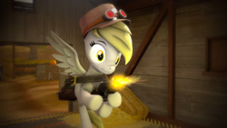 Size: 1920x1080 | Tagged: safe, derpy hooves, pegasus, bag, female, females only, gun, hat, muzzle flash, solo, solo female, spread wings, team fortress 2, weapon, wings