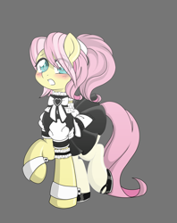 Size: 6410x8098 | Tagged: safe, artist:darkstorm mlp, fluttershy, pegasus, adorable face, adorascotch, anime style, blushing, bow, buttermaid, butterscotch, clothes, crossdressing, cute, femboy, hair tie, hidden wings, maid, makeup, male, nylon tights, rule 63, simple background, solo, solo male, stockings, thigh highs