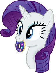Size: 2340x3024   Tagged: safe, artist:anime-equestria, rarity, pony, unicorn, blue eyes, blue eyeshadow, bust, cute, donut, eyelashes, eyeshadow, female, food, gem, high res, horn, makeup, mare, mouth hold, raribetes, simple background, solo, transparent background, vector