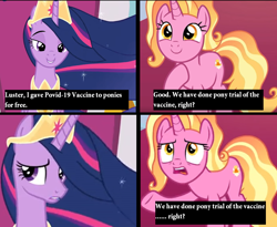 Size: 1018x834   Tagged: safe, edit, edited screencap, screencap, luster dawn, twilight sparkle, alicorn, pony, unicorn, the last problem, and that's how g5 was made, anti-vaxxer propaganda, comic, coronavirus, female, for the better right?, older, older twilight, op is a duck, op isn't even trying anymore, princess twilight 2.0, screencap comic, twilight sparkle (alicorn)