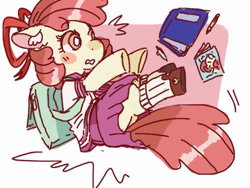 Size: 500x375 | Tagged: safe, artist:cutebeerfloat, apple bloom, earth pony, pony, backpack, book, clothes, female, filly, sailor uniform, skirt, solo, surprised, uniform