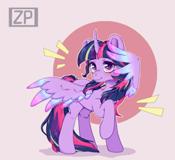 Size: 2179x2000 | Tagged: safe, artist:zero-paint, twilight sparkle, alicorn, pony, cute, female, heart eyes, high res, iridescence, looking at you, mare, raised hoof, smiling, smiling at you, solo, spread wings, twiabetes, twilight sparkle (alicorn), wingding eyes, wings, ych example, your character here
