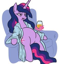 Size: 743x798 | Tagged: safe, artist:jargon scott, twilight sparkle, alicorn, pony, alcohol, armchair, bathrobe, clothes, couch potato, female, glass, hand, lidded eyes, magic, magic hands, mare, older, older twilight, open robe, princess twilight 2.0, redlettermedia, rich evans, robe, simple background, sitting, solo, twilight sparkle (alicorn), white background, wine, wine glass