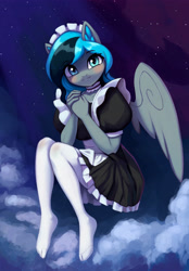 Size: 3500x5032 | Tagged: safe, artist:mrscroup, oc, oc only, oc:luny, pegasus, anthro, plantigrade anthro, blushing, choker, clothes, dress, ear fluff, female, looking at you, maid, maid headdress, smiling, smiling at you, socks, solo, stocking feet, thigh highs, white socks, wings