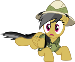Size: 2434x2000 | Tagged: safe, artist:frownfactory, daring do, pegasus, pony, season 6, stranger than fan fiction, clothes, ear fluff, female, folded wings, hat, high res, lying down, mare, pith helmet, prone, shirt, simple background, solo, transparent background, vector, wings