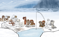 Size: 2290x1442 | Tagged: safe, artist:anonymous, oc, oc only, oc:baba hooves, fish, human, pony, seal, yakutian horse, basket, black and white, chest fluff, clothes, cloud, cute, drawthread, female, filly, fishing, fishing rod, fluffy, foal, google, grayscale, map, mare, monochrome, mountain, older, saddle, simple background, sketch, snow mare, tack, winter outfit, wrinkles