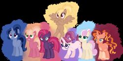 Size: 1280x640 | Tagged: safe, artist:magicuniclaws, oc, oc:cinnabar, oc:cross stitch, oc:dawn flower, oc:honey bee, oc:midnight moon, oc:sodalite, oc:turtle dove, earth pony, pegasus, pony, unicorn, magical gay spawn, magical lesbian spawn, magical threesome spawn, offspring, parent:applejack, parent:big macintosh, parent:bon bon, parent:cheerilee, parent:flash sentry, parent:glimmerdancer, parent:lyra heartstrings, parent:maud pie, parent:moondancer, parent:starlight glimmer, parent:sunburst, parent:tempest shadow, parent:thorax, parent:trenderhoof, parent:trixie, parent:twilight sparkle, parent:zephyr breeze, parents:cheerijack, parents:lyrabon, parents:mauxie, parents:tempestlight, simple background, transparent background