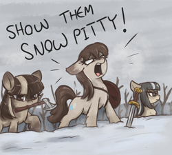 Size: 2000x1800 | Tagged: safe, artist:t72b, oc, oc only, oc:cold shoulder, oc:frosty flakes, oc:winter wonder, pony, yakutian horse, axe, chest fluff, english, female, mare, misspelling, mouth hold, pun, shield, snow, snow mare, snowpity, sword, tree, weapon, yelling