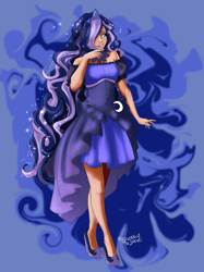 Size: 2048x2732 | Tagged: safe, artist:sjmarts, kotobukiya, princess luna, human, clothes, dress, high heels, humanized, kotobukiya princess luna, miniskirt, shoes, skirt, sleeveless, solo, stiletto heels