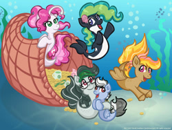 Size: 1000x750 | Tagged: safe, artist:yoshimarsart, oc, oc only, earth pony, merpony, pegasus, pony, seapony (g4), bubble, crepuscular rays, deviantart watermark, dorsal fin, female, fin wings, fish tail, flowing mane, flowing tail, obtrusive watermark, ocean, open mouth, open smile, seashell, seaweed, smiling, sunlight, tail, underwater, water, watermark, wings