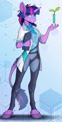 Size: 1220x2390   Tagged: safe, artist:yakovlev-vad, twilight sparkle, classical unicorn, unicorn, anthro, unguligrade anthro, belt, clothes, cloven hooves, eye clipping through hair, female, glasses, grin, lab coat, leonine tail, looking at you, pencil, science, scientist, smiling, smiling at you, solo, unicorn twilight, unshorn fetlocks, vial