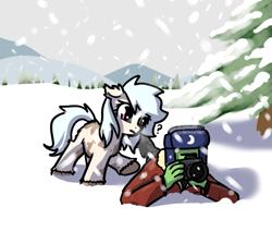 Size: 651x583 | Tagged: safe, artist:neuro, oc, oc only, oc:anon, earth pony, human, pony, yakutian horse, camera, confused, hat, pink eyes, snow, snow mare, ushanka