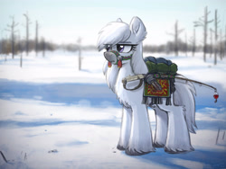 Size: 4000x3000 | Tagged: safe, artist:selenophile, oc, oc only, oc:fall frost, earth pony, pony, yakutian horse, blanket, bridle, chest fluff, ear fluff, eye clipping through hair, eyebrows, eyebrows visible through hair, female, fishing rod, fluffy, frown, high res, leg fluff, mare, pack, snow, snow mare, solo, tack, tassels, tree, unshorn fetlocks
