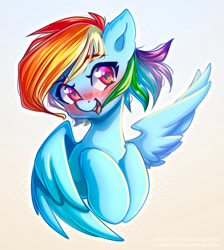 Size: 1000x1115   Tagged: safe, artist:chaosangeldesu, rainbow dash, pegasus, pony, abstract background, blushing, bust, chest fluff, cute, dashabetes, ear fluff, female, heart eyes, looking at you, mare, open mouth, open smile, smiling, smiling at you, solo, wingding eyes