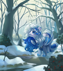 Size: 1950x2200 | Tagged: safe, artist:shady-bush, oc, bat pony, pony, female, mare, solo, tree, winter