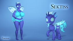 Size: 3840x2160   Tagged: safe, artist:seriff-pilcrow, oc, oc:sektiss, changeling, anthro, plantigrade anthro, anthro oc, anthro ponidox, belly button, big breasts, blue changeling, bra, breasts, changeling oc, clothes, duality, huge breasts, open mouth, open smile, panties, raised hoof, self ponidox, smiling, thick, tongue out, underwear