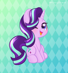 Size: 2480x2647 | Tagged: safe, artist:ninnydraws, starlight glimmer, pony, unicorn, abstract background, blushing, cute, eye clipping through hair, glimmerbetes, heart eyes, high res, looking at you, one eye closed, open mouth, open smile, sitting, smiling, smiling at you, solo, wingding eyes, wink, winking at you