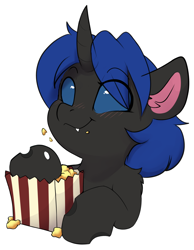 Size: 2862x3688   Tagged: safe, artist:rileyisherehide, oc, oc only, oc:swift dawn, changeling, pony, blue changeling, blue eyes, changeling oc, commission, cute, eating, eyebrows, eyebrows visible through hair, fangs, food, high res, horn, ocbetes, popcorn, simple background, smiling, solo, transparent background, ych result