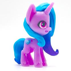 Size: 1593x1593   Tagged: safe, photographer:errant_harpy, izzy moonbow, pony, unicorn, g5, pony life, cropped, female, mare, merchandise, simple background, solo, toy, white background