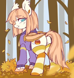 Size: 1624x1712 | Tagged: safe, artist:cheekipone, oc, oc only, oc:honey milk, bat pony, pony, autumn, butt, clothes, forest, hoodie, leaves, looking back, plot, smiling, socks, solo, striped socks, thigh highs, tree