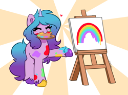 Size: 5359x3958 | Tagged: safe, artist:kittyrosie, izzy moonbow, pony, unicorn, g5, cute, easel, eyes closed, female, izzybetes, mare, messy, messy colouring, mouth hold, painting, rainbow, solo, unshorn fetlocks
