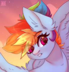Size: 1377x1440   Tagged: safe, artist:elektra-gertly, rainbow dash, pegasus, pony, bust, ear fluff, eye clipping through hair, eyebrows, eyebrows visible through hair, gritted teeth, looking at something, multicolored hair, portrait, purple eyes, signature, teeth, wings