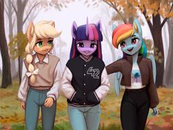 Size: 2100x1581 | Tagged: safe, artist:mrscroup, applejack, rainbow dash, twilight sparkle, earth pony, pegasus, unicorn, anthro, autumn, clothes, jacket, open mouth, tree, unicorn twilight, wallpaper