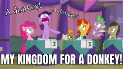 Size: 1920x1080   Tagged: safe, edit, edited screencap, screencap, cranky doodle donkey, doctor whooves, pinkie pie, spike, sunburst, time turner, twilight sparkle, alicorn, donkey, dragon, earth pony, pony, unicorn, a trivial pursuit, season 9, beard, bell, bowtie, caption, desperate, facial hair, faic, female, floppy ears, flying, image macro, looking up, male, mare, meme, messy mane, my kingdom for a horse, obsessed, open mouth, pointing, richard iii, shrunken pupils, sin of greed, spread wings, stallion, surprised, team twipie, text, tired, trivia trot, twilight snapple, twilight sparkle (alicorn), twilighting, wide eyes, wide mouth, wig, winged spike, wings, worms (video game), yelling