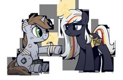 Size: 2300x1500 | Tagged: safe, artist:topaythebills, oc, oc:littlepip, oc:velvet remedy, pony, unicorn, fallout equestria, bandage, magic, simple background, transparent background